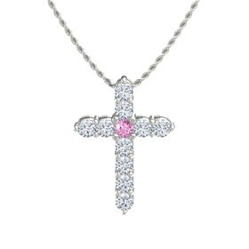 Round Pink Sapphire 14K White Gold Pendant with Diamond