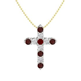 Round Ruby 14K White Gold Pendant with White Sapphire and Red Garnet