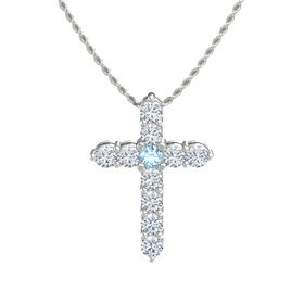 Round Blue Topaz 14K White Gold Necklace with Diamond