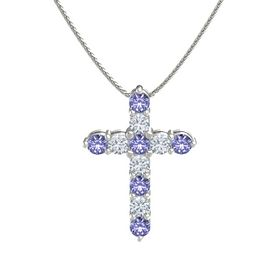 Round Tanzanite 14K White Gold Pendant with Diamond and Tanzanite
