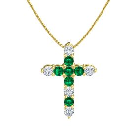 Round Emerald 14K Yellow Gold Pendant with Emerald and Diamond