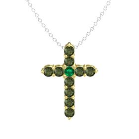 Round Emerald 14K Yellow Gold Pendant with Green Tourmaline
