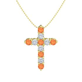 Round Fire Opal 14K Yellow Gold Necklace with Diamond & Fire Opal