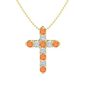 Round Fire Opal 14K Yellow Gold Pendant with Diamond and Fire Opal