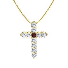 Round Red Garnet 14K Yellow Gold Pendant with Diamond