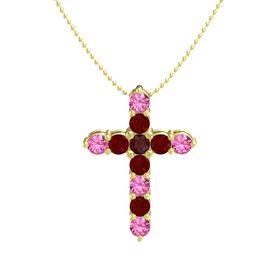 Round Red Garnet 14K Yellow Gold Pendant with Ruby and Pink Tourmaline