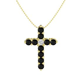 Round White Sapphire 14K Yellow Gold Necklace with Black Onyx