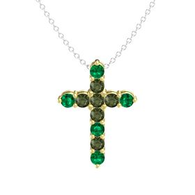 Round Green Tourmaline 14K Yellow Gold Pendant with Green Tourmaline and Emerald