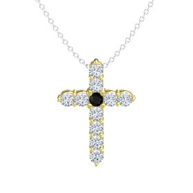 Round Black Onyx 14K Yellow Gold Pendant with Diamond