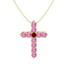 Round Ruby 14K Yellow Gold Pendant with Pink Tourmaline