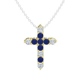 Round Blue Sapphire 14K Yellow Gold Pendant with Blue Sapphire and Diamond