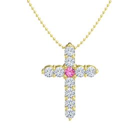 Round Pink Tourmaline 14K Yellow Gold Pendant with Diamond