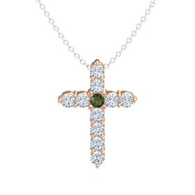 Round Green Tourmaline 18K Rose Gold Pendant with Diamond