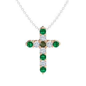 Round Green Tourmaline 18K Rose Gold Pendant with Diamond and Emerald