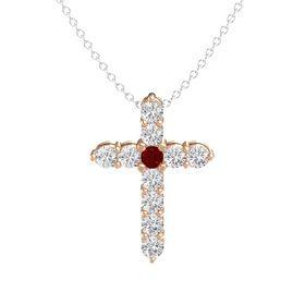 Round Ruby 18K Rose Gold Pendant with White Sapphire