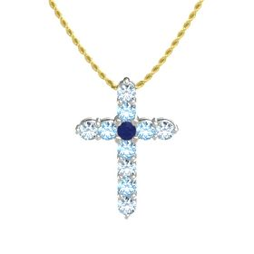 Round Blue Sapphire 18K White Gold Pendant with Blue Topaz and Aquamarine