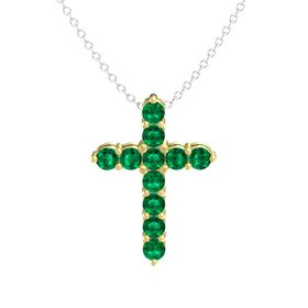 Round Emerald 18K Yellow Gold Pendant with Emerald