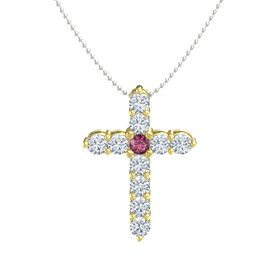 Round Rhodolite Garnet 18K Yellow Gold Necklace with Diamond