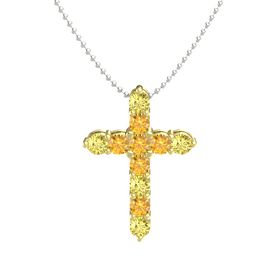 Round Citrine 18K Yellow Gold Necklace with Citrine & Yellow Sapphire