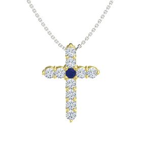 Round Blue Sapphire 18K Yellow Gold Pendant with Diamond