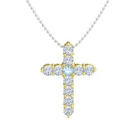 Round Blue Topaz 18K Yellow Gold Pendant with Diamond