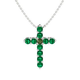 Round Green Tourmaline Platinum Necklace with Emerald