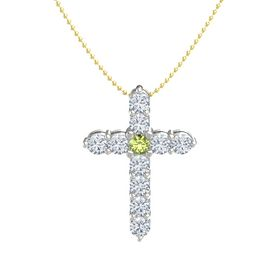 Round Peridot Platinum Pendant with Diamond