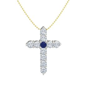 Round Blue Sapphire Platinum Pendant with Diamond