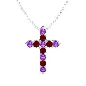 Round Amethyst Sterling Silver Pendant with Ruby and Amethyst