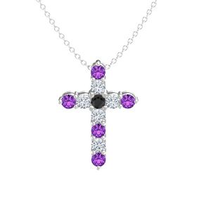 Round Black Diamond Sterling Silver Pendant with Diamond and Amethyst