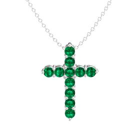 Round Emerald Sterling Silver Pendant with Emerald