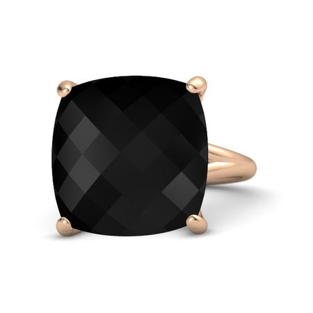 Checkerboard Cushion Pavilion Black yx 14K Rose Gold Ring