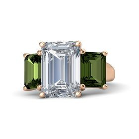 Emerald Diamond 14K Rose Gold Ring with Green Tourmaline