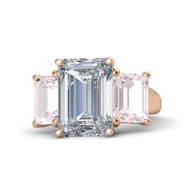 Emerald Diamond 14K Rose Gold Ring with Rose Quartz