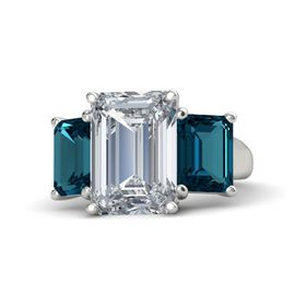 Emerald Diamond 14K White Gold Ring with London Blue Topaz