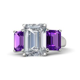 Emerald Diamond 14K White Gold Ring with Amethyst