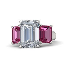 Emerald Diamond 14K White Gold Ring with Pink Sapphire