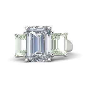 Emerald Diamond 14K White Gold Ring with Green Amethyst