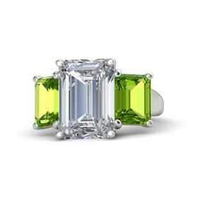 Emerald Diamond 14K White Gold Ring with Peridot