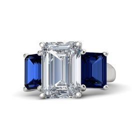 Emerald Diamond 14K White Gold Ring with Blue Sapphire