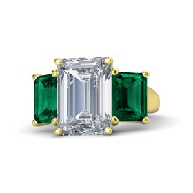 Emerald Diamond 14K Yellow Gold Ring with Emerald