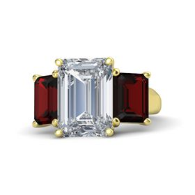 Emerald Diamond 14K Yellow Gold Ring with Red Garnet