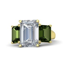 Emerald Diamond 14K Yellow Gold Ring with Green Tourmaline