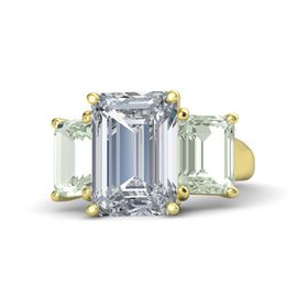 Emerald Diamond 14K Yellow Gold Ring with Green Amethyst