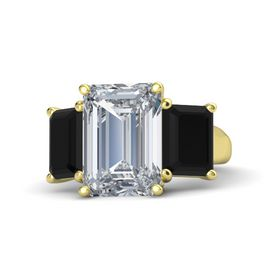 Emerald Diamond 14K Yellow Gold Ring with Black Onyx