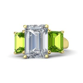 Emerald Diamond 14K Yellow Gold Ring with Peridot