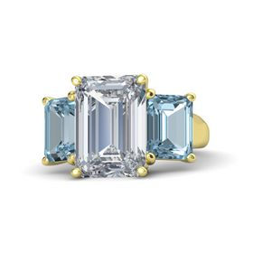 Emerald Diamond 14K Yellow Gold Ring with Aquamarine