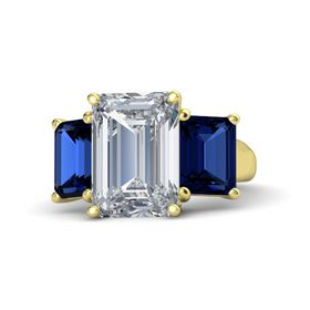Emerald Diamond 14K Yellow Gold Ring with Blue Sapphire