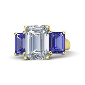 Emerald Diamond 14K Yellow Gold Ring with Tanzanite