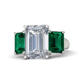 Emerald Diamond Platinum Ring with Emerald